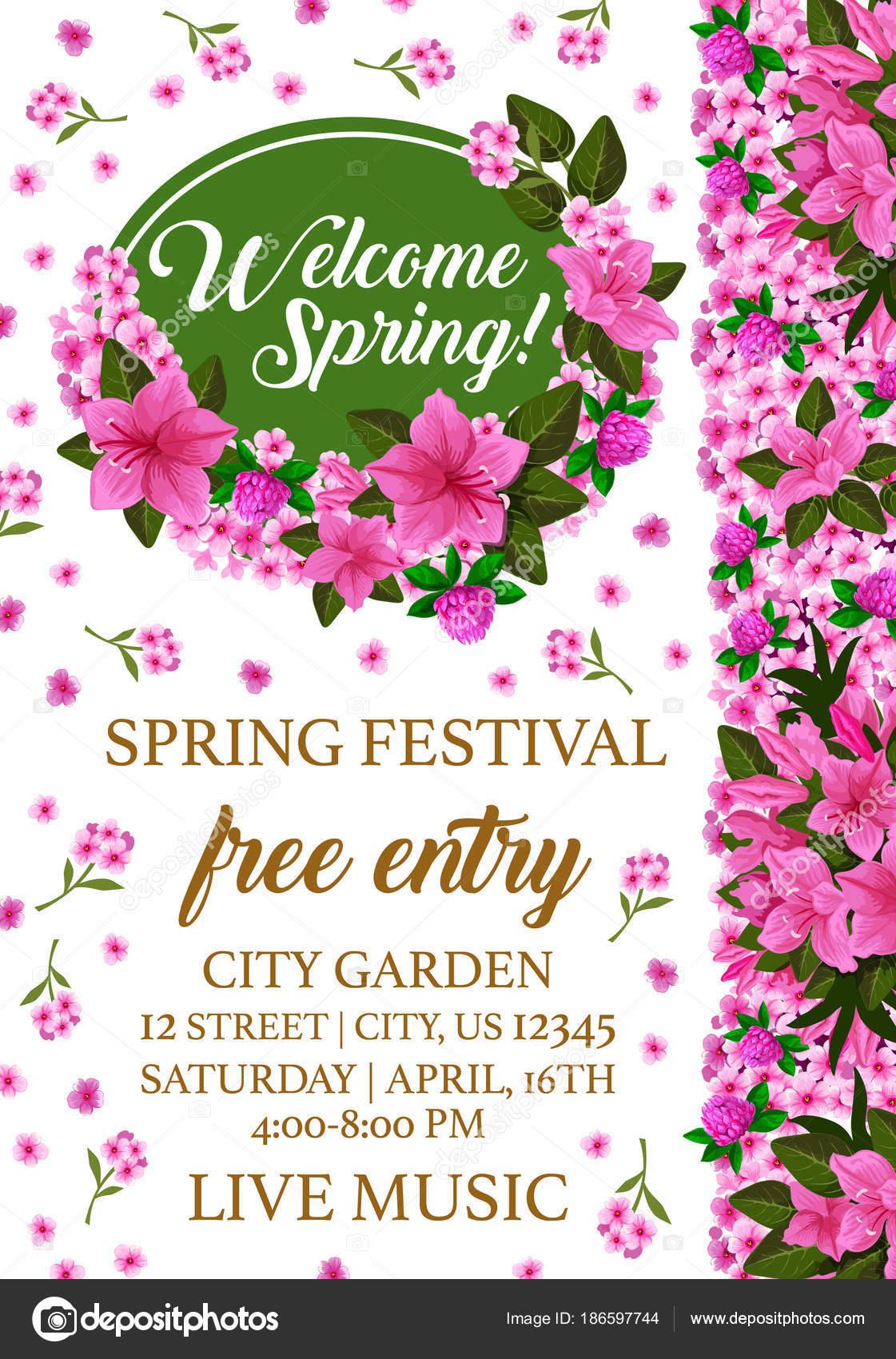 Cartaz Festival De Primavera Com Moldura De Flor De Rosa