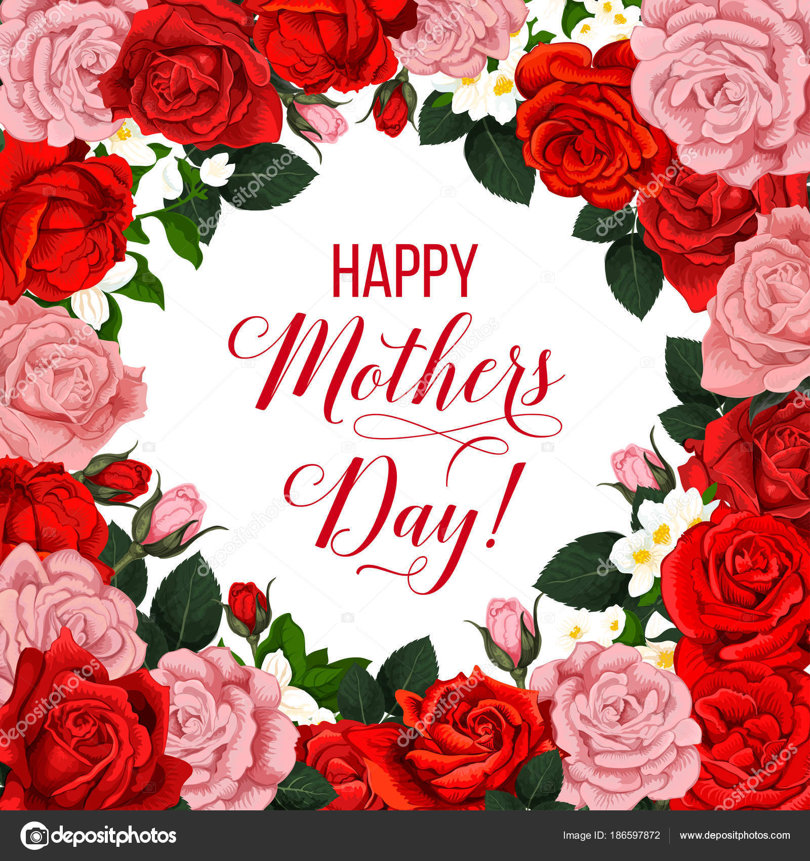 Cartel floral dia de la madre con marco de flor de primavera ...