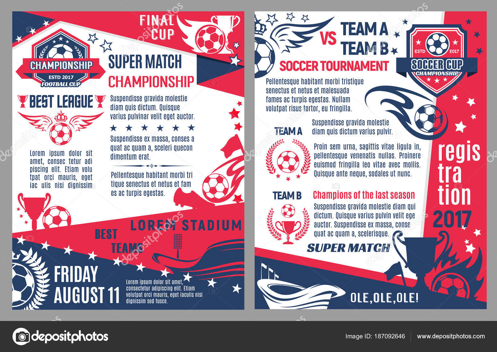 Vector Soccer Football Match Tournament Poster Stock