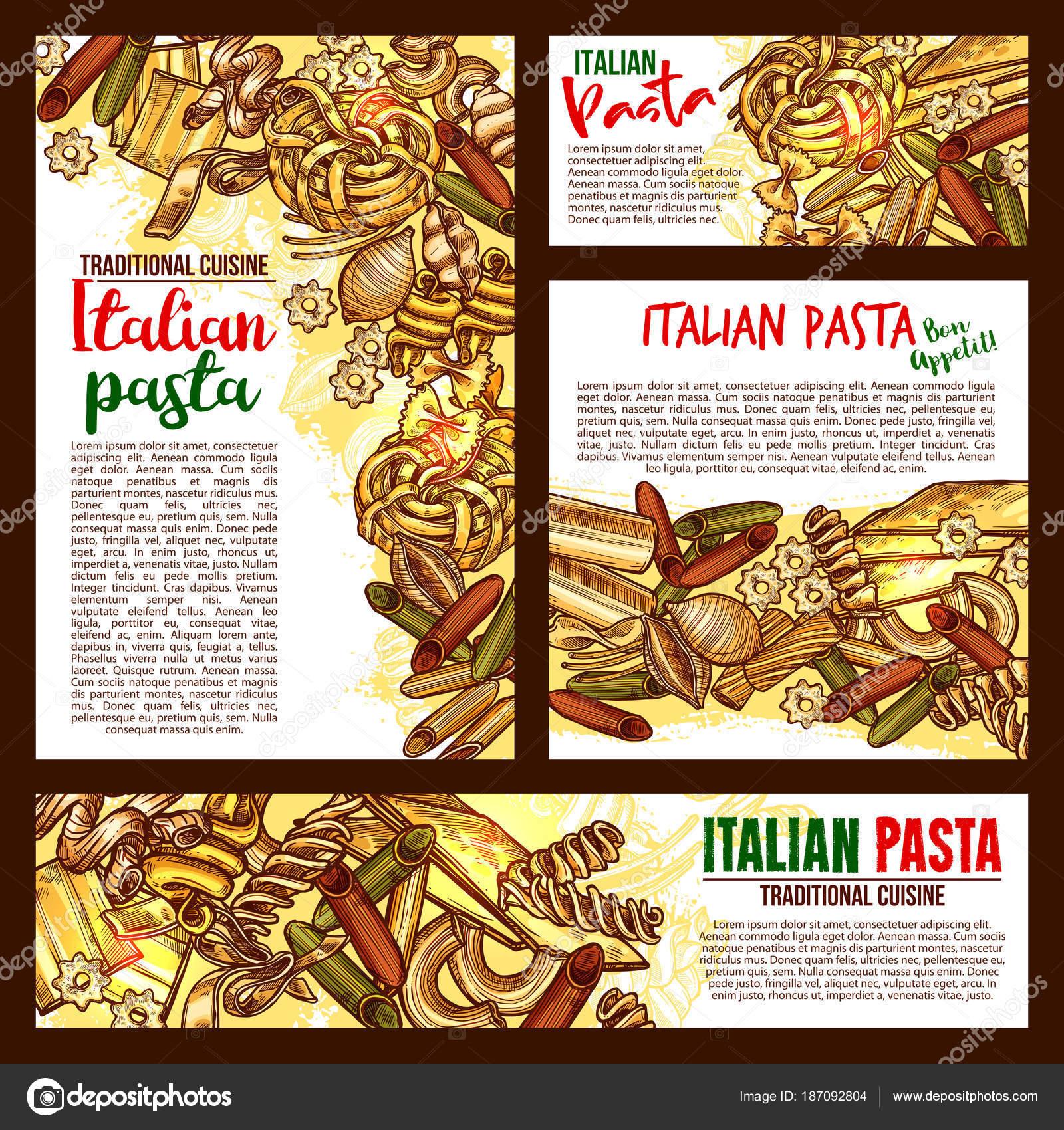 Poster di schizzo di vettore pasta italiana cucina — Vettoriali ...
