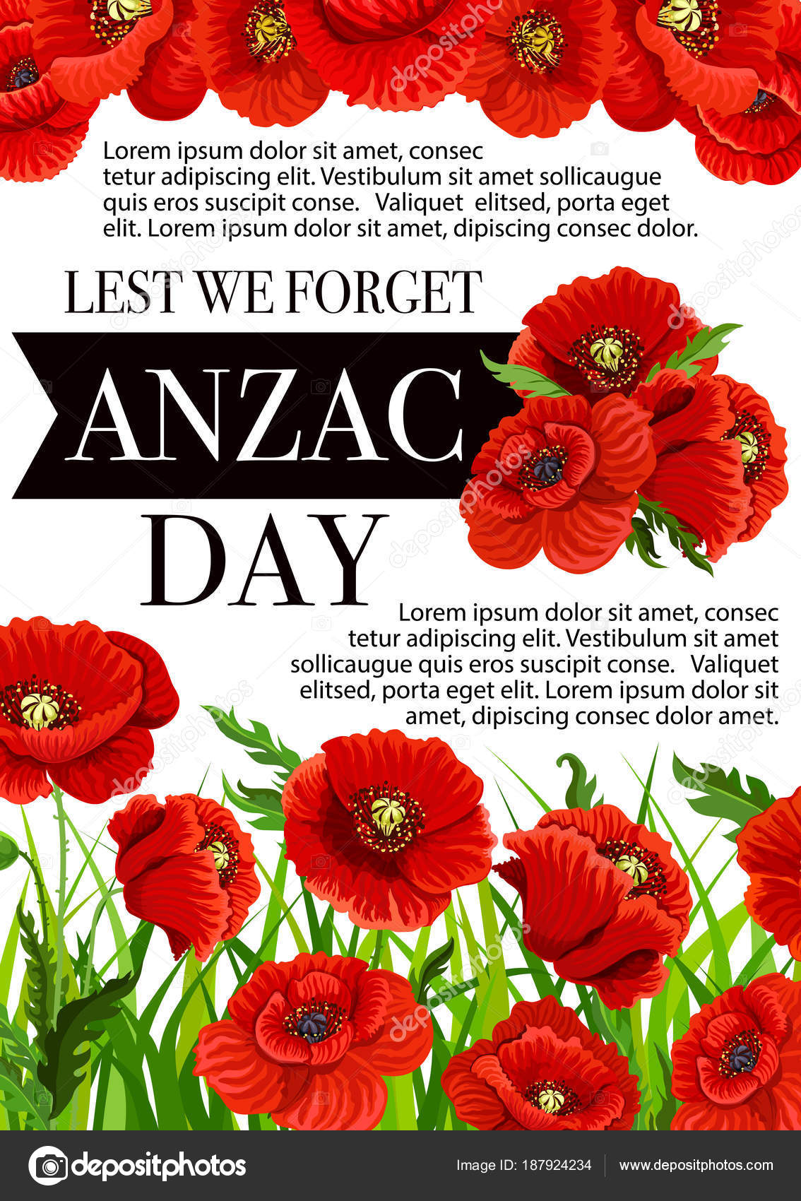 Anzac day australian vector lest we forget poster stock vector vector 25 april australian and new zealand holiday poster for war remembrance anniversary of anzac day poppy flowers symbols vector by seamartini mightylinksfo