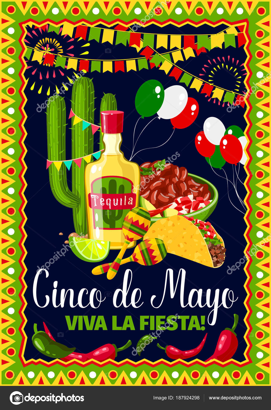 Cinco de mayo mexican holiday vector greeting card stock vector cinco de mayo greeting card for mexican holiday fiesta celebration vector design of traditional mexico symbols of jalapeno pepper and cactus tequila m4hsunfo