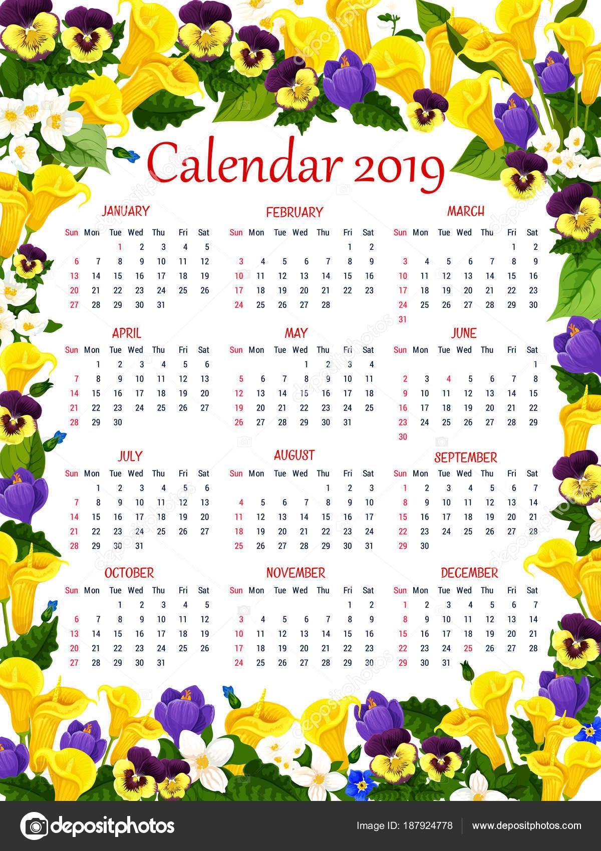 Jahr Kalendervorlage mit Federkern Blume — Stockvektor © Seamartini ...