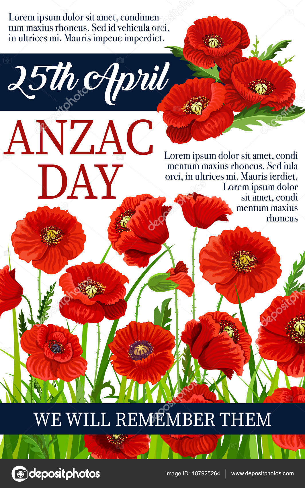 Anzac Day 25 April Poppy Vector War Memory Poster Stock Vector