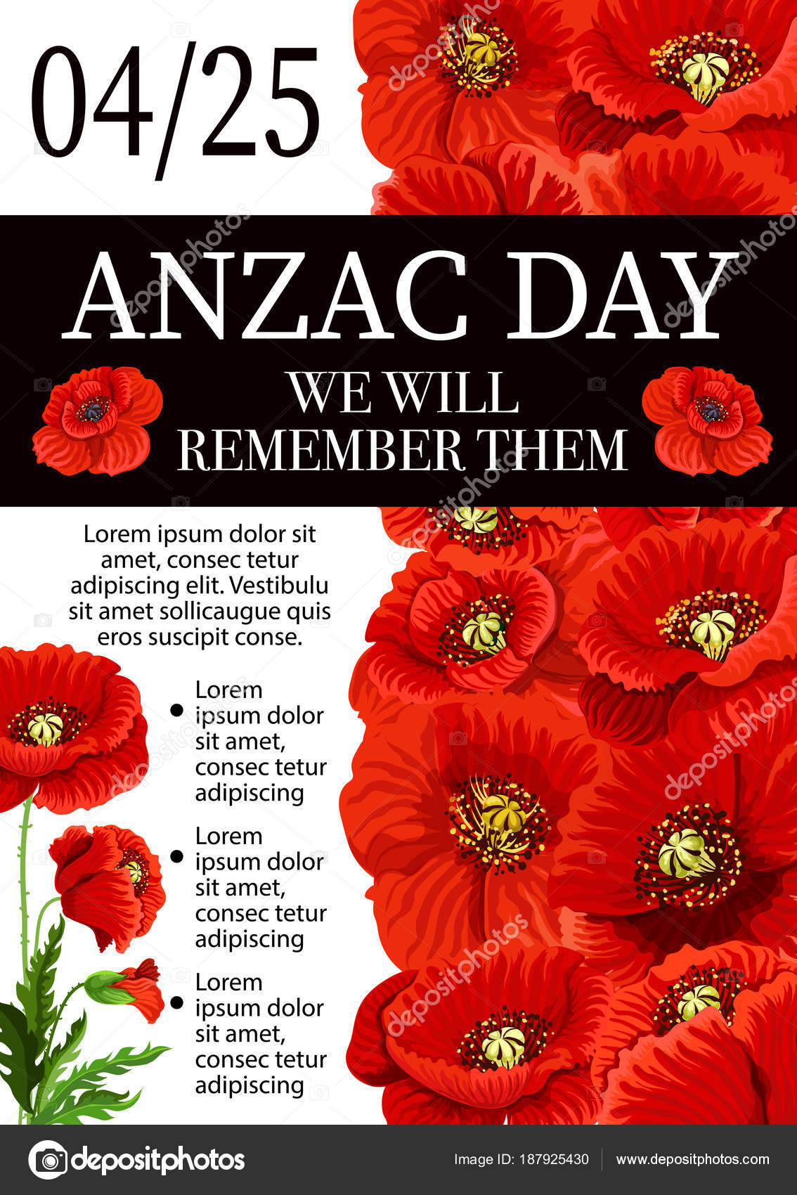 Anzac Day Lest We Forget Remembrance Vector Poster Stock Vector