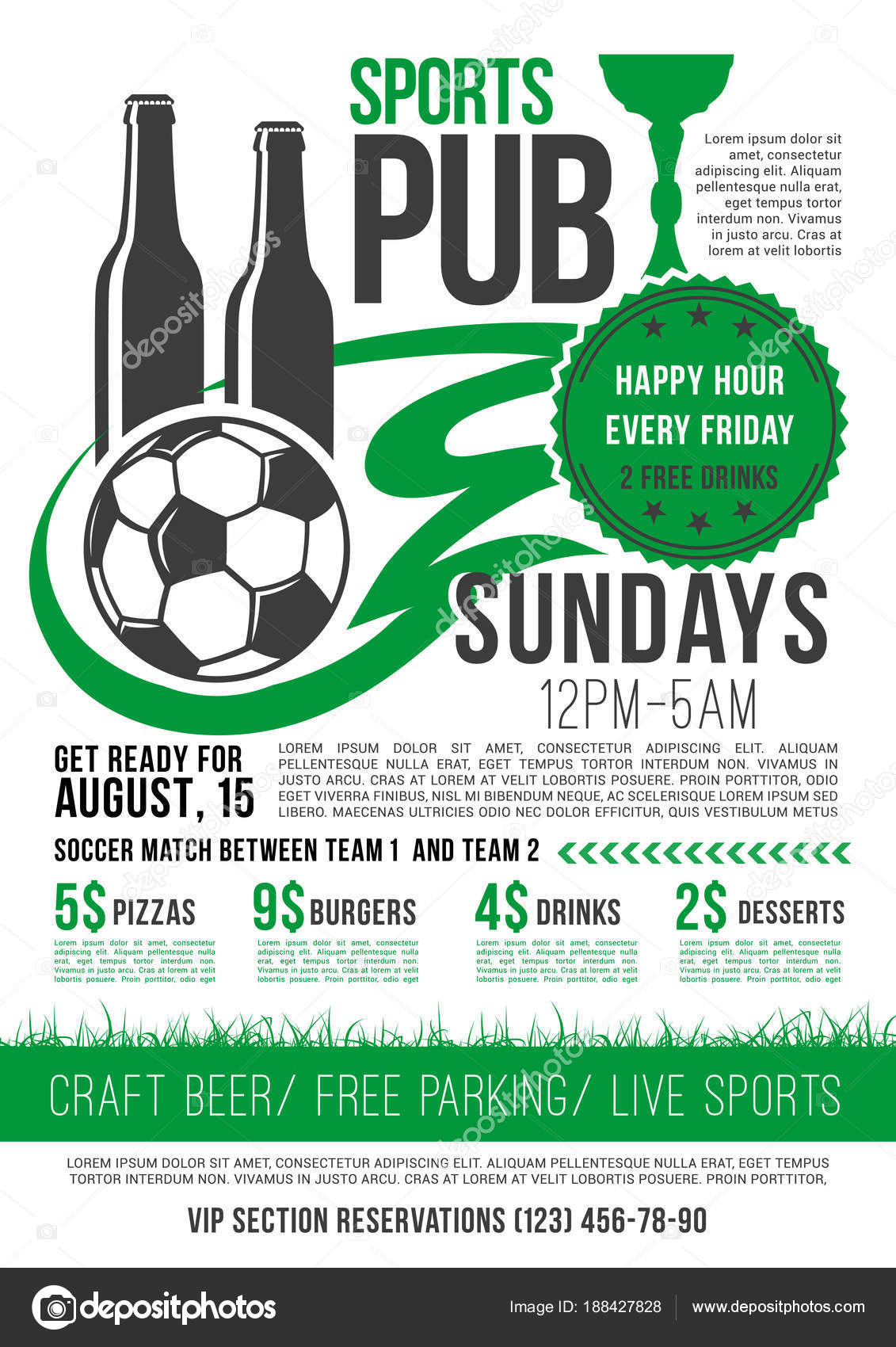 Soccer Sports Bar Menu Template For Football Championship Happy Hour Specials On Pizza Burgers And Beer Drinks Desserts Vector Snacks