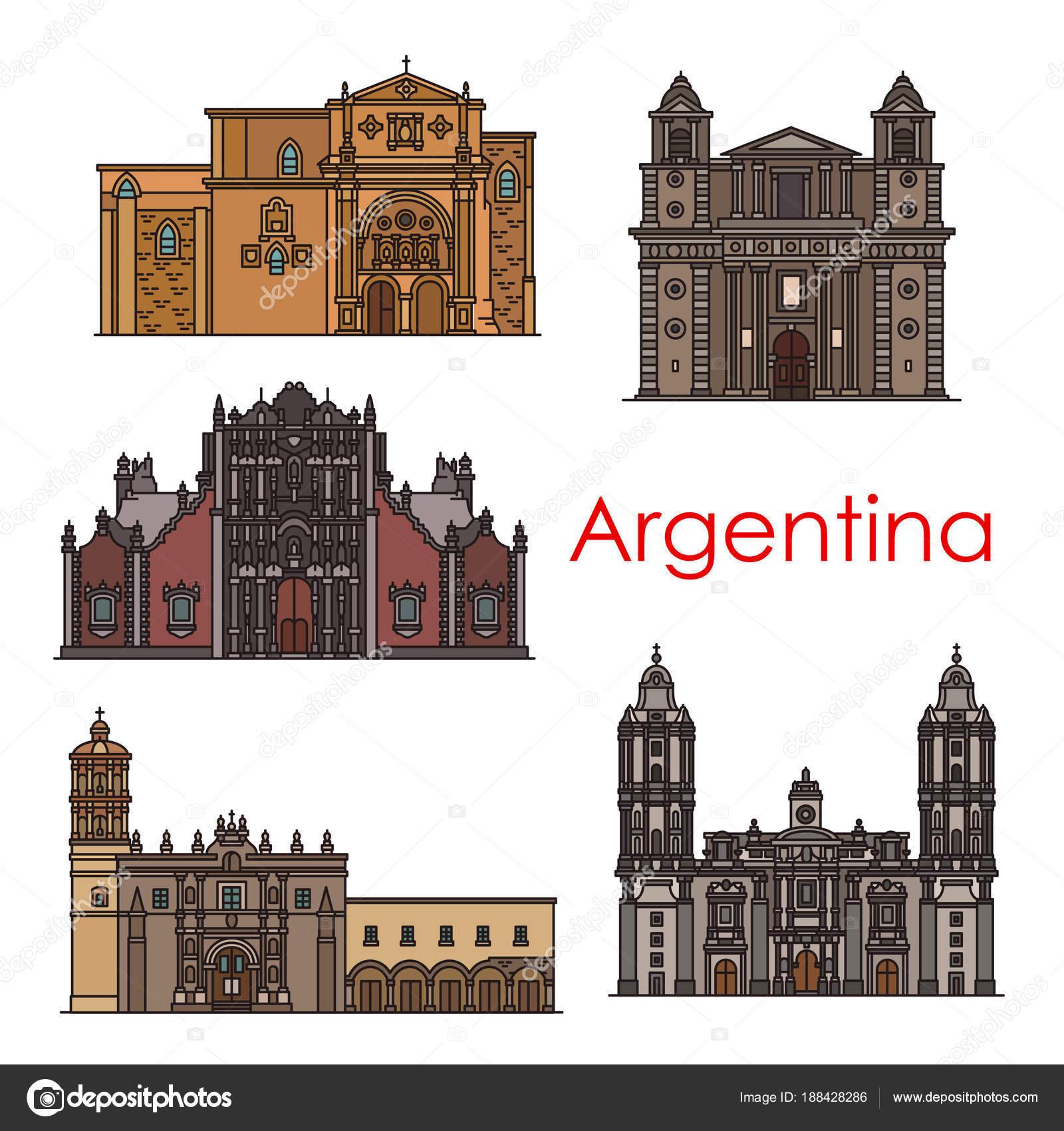 Argentina Sevärdheter Vektor Byggnader Linje Ikoner Stock Vektor