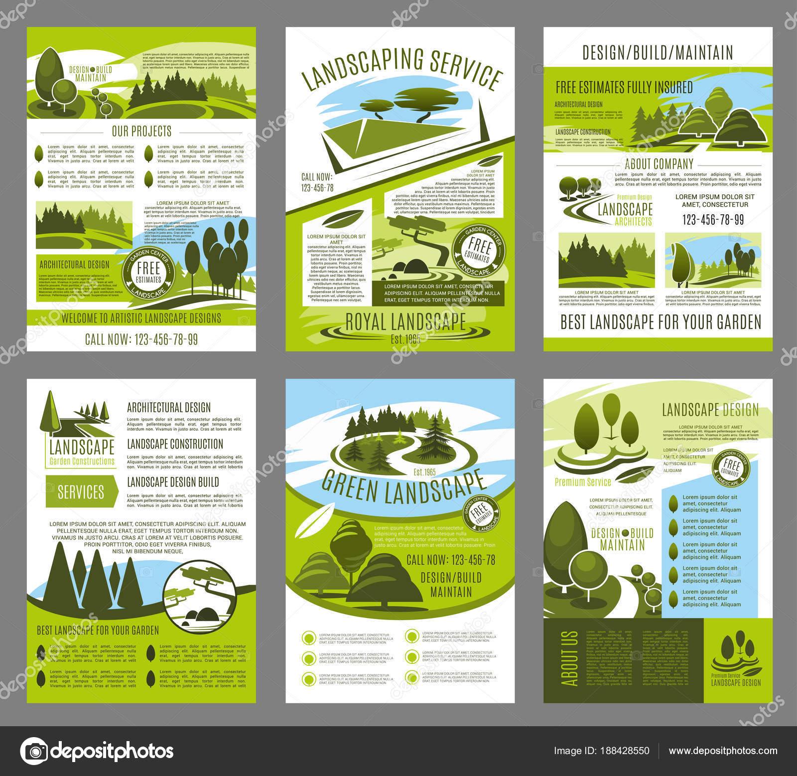 Plantilla de folleto de vector paisaje diseño de jardines — Vector ...