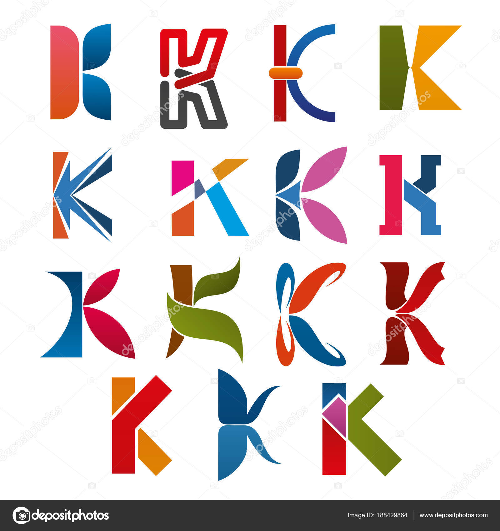 k letter icons template for corporate or business company and brand name emblem vector letter k set in different abstract geometric shapes and colors for
