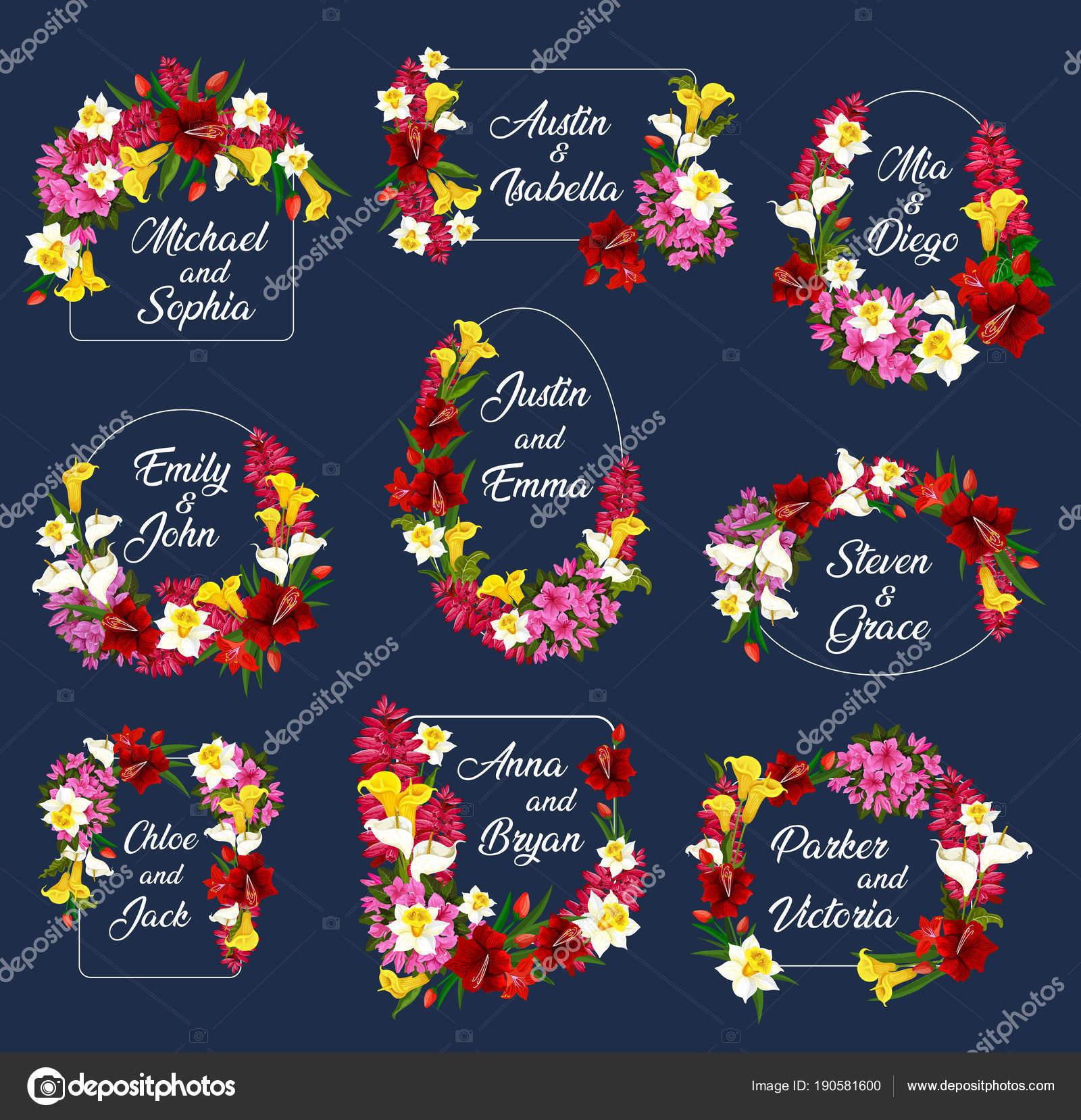Blumen Hochzeit sparen Datum Frames Vektor-icons — Stockvektor ...