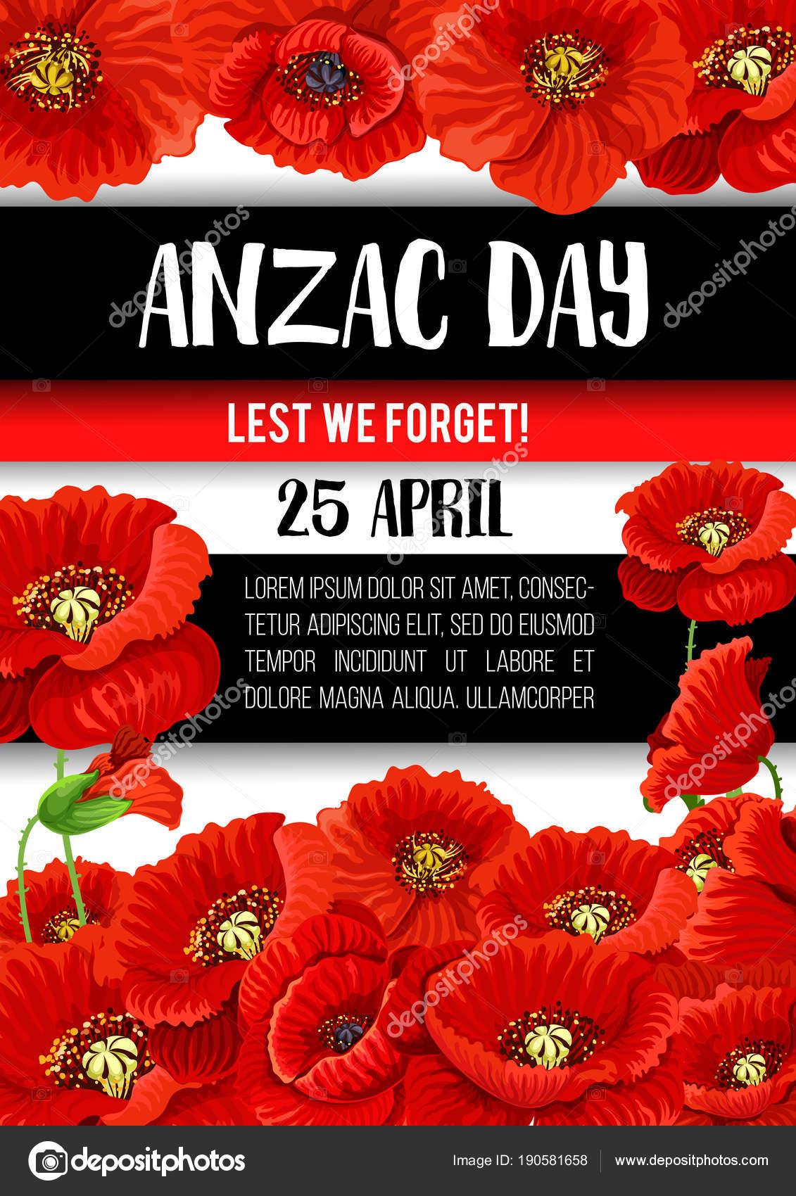 Anzac Day Poppy Flower Memorial Banner Design Stock Vector