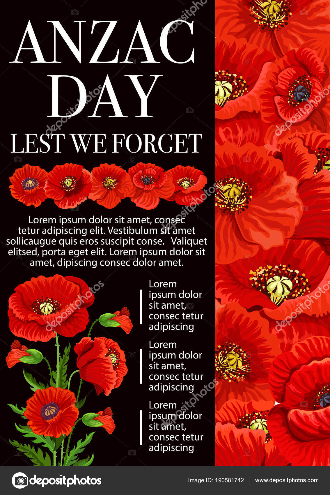 Anzac Day Poppy Flower For Lest We Forget Banner Stock Vector
