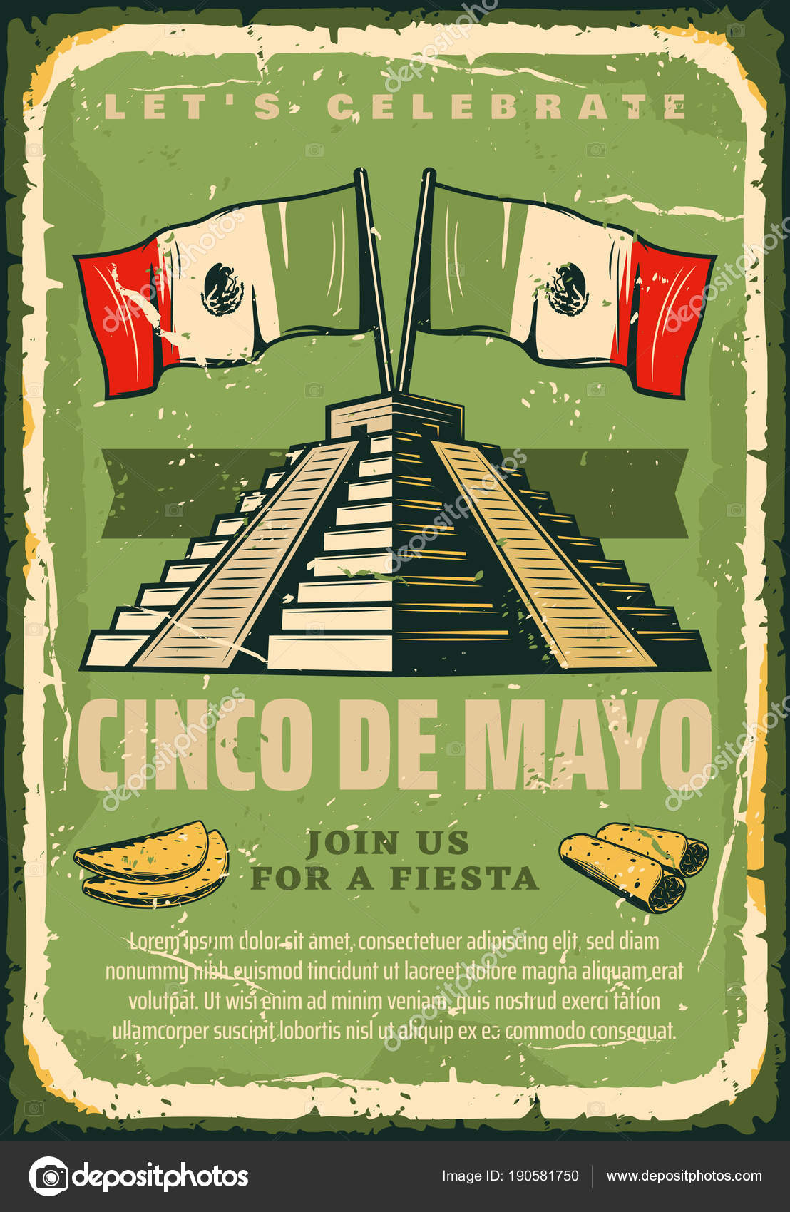 Mexican fiesta cinco de mayo vector sketch poster stock vector cinco de mayo sketch retro poster for mexican holiday greeting card or fiesta invitation vector cinco de mayo vintage design of mexico flag on maya or m4hsunfo Image collections