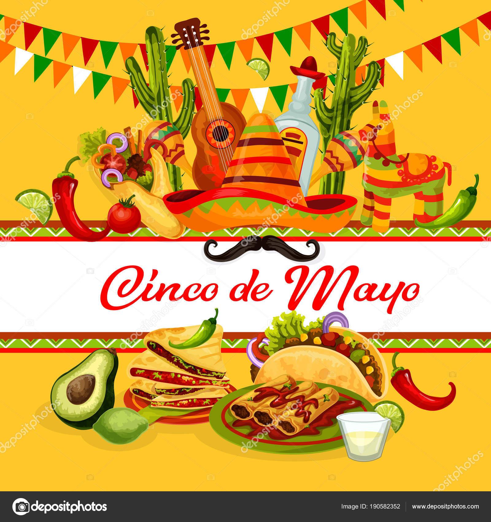 Cinco de Mayo Fiesta Mexicana tarjeta de felicitación con fiesta fiesta  comida y bebida. Latin American festival sombrero sombrero 7dc7b4b69fc
