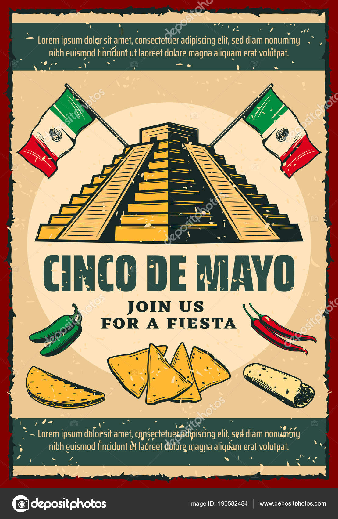 Cinco de mayo fiesta party retro invitation poster stock vector cinco de mayo fiesta party invitation poster for mexican holiday ancient aztec pyramid with mexico flag chili pepper and jalapeno taco nacho and burrito stopboris