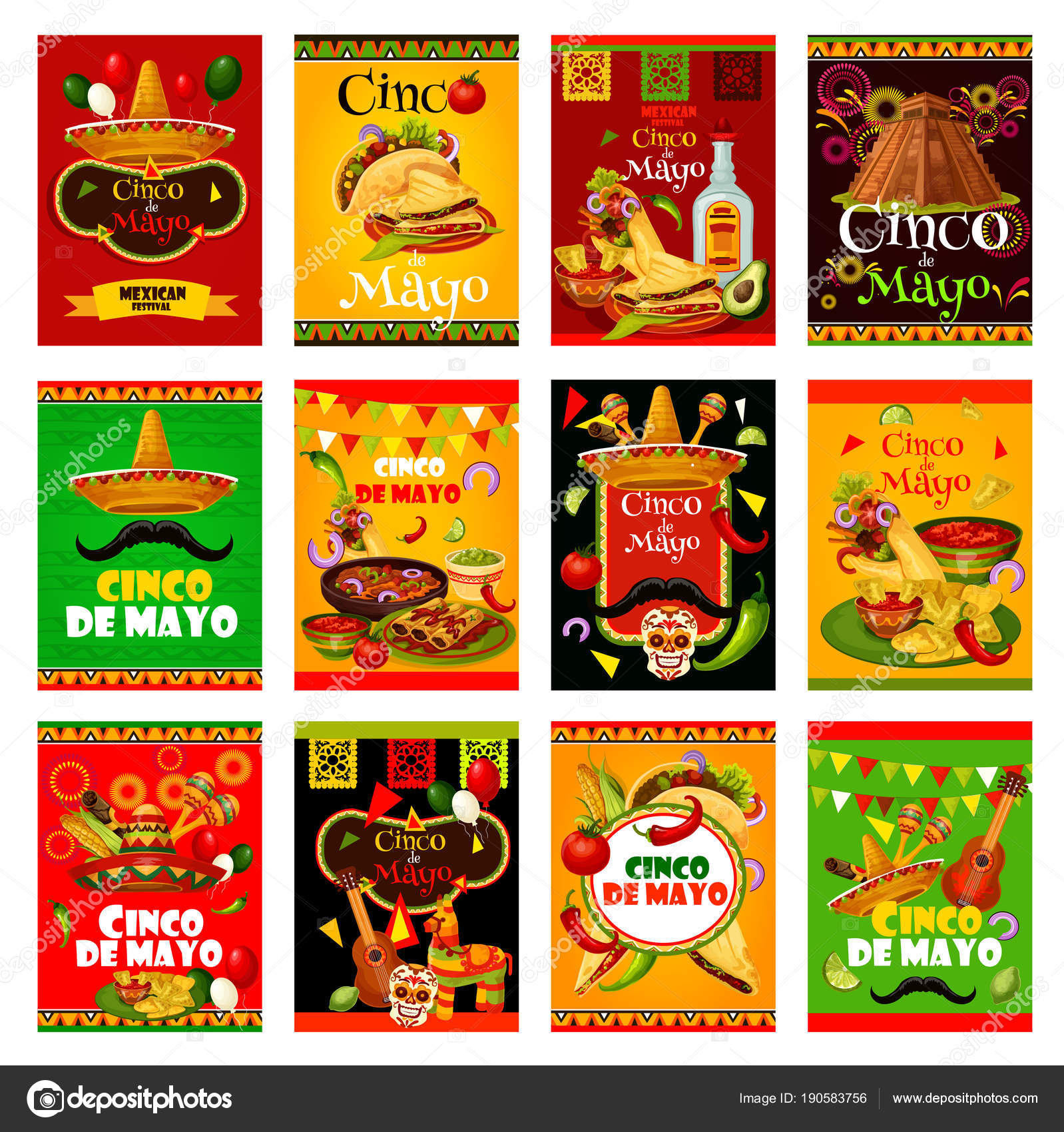 Cinco de mayo greeting card for mexican festival stock vector cinco de mayo greeting card set for mexican holiday design sombrero maracas and guitar fiesta party food and drink chili pepper jalapeno and tequila m4hsunfo