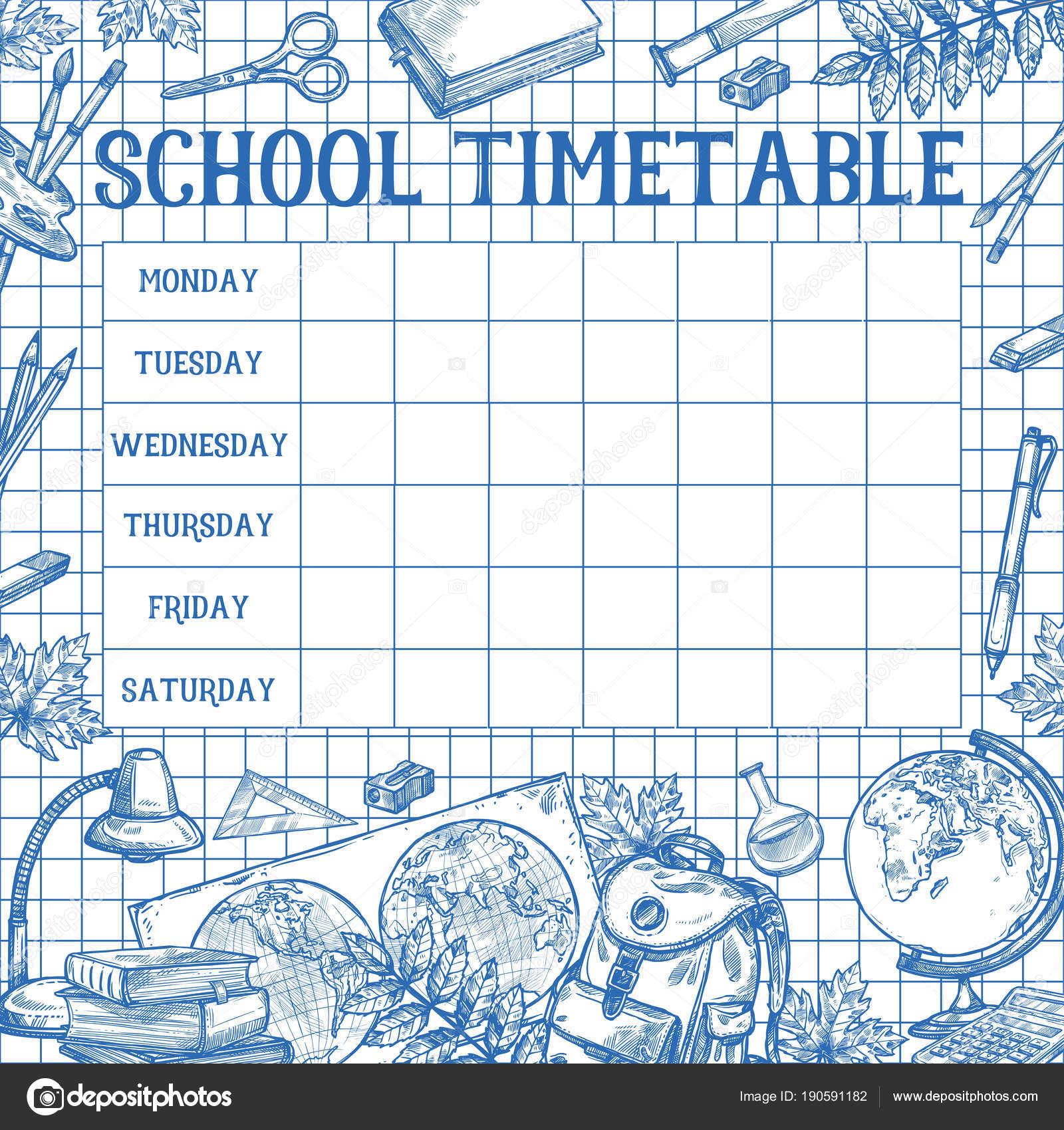 Schule skizzieren Zeitplan Zeitplan Vektor Vorlage — Stockvektor ...