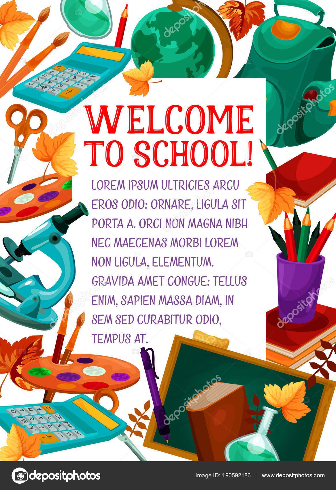 Zurück zu Schule Vektor Briefpapier Bildung poster — Stockvektor ...