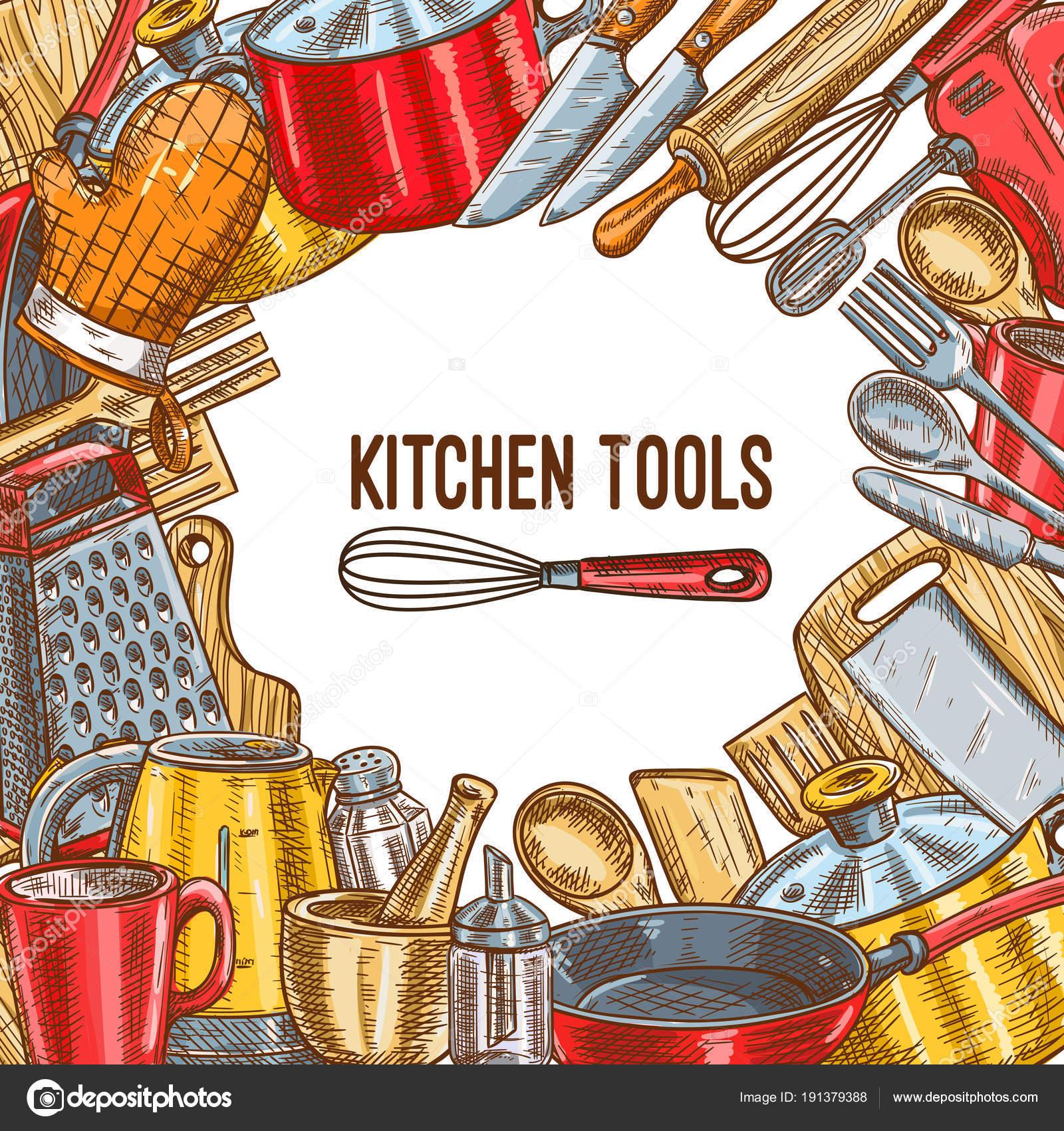 Poster di schizzo di strumento, utensile o utensili da cucina ...