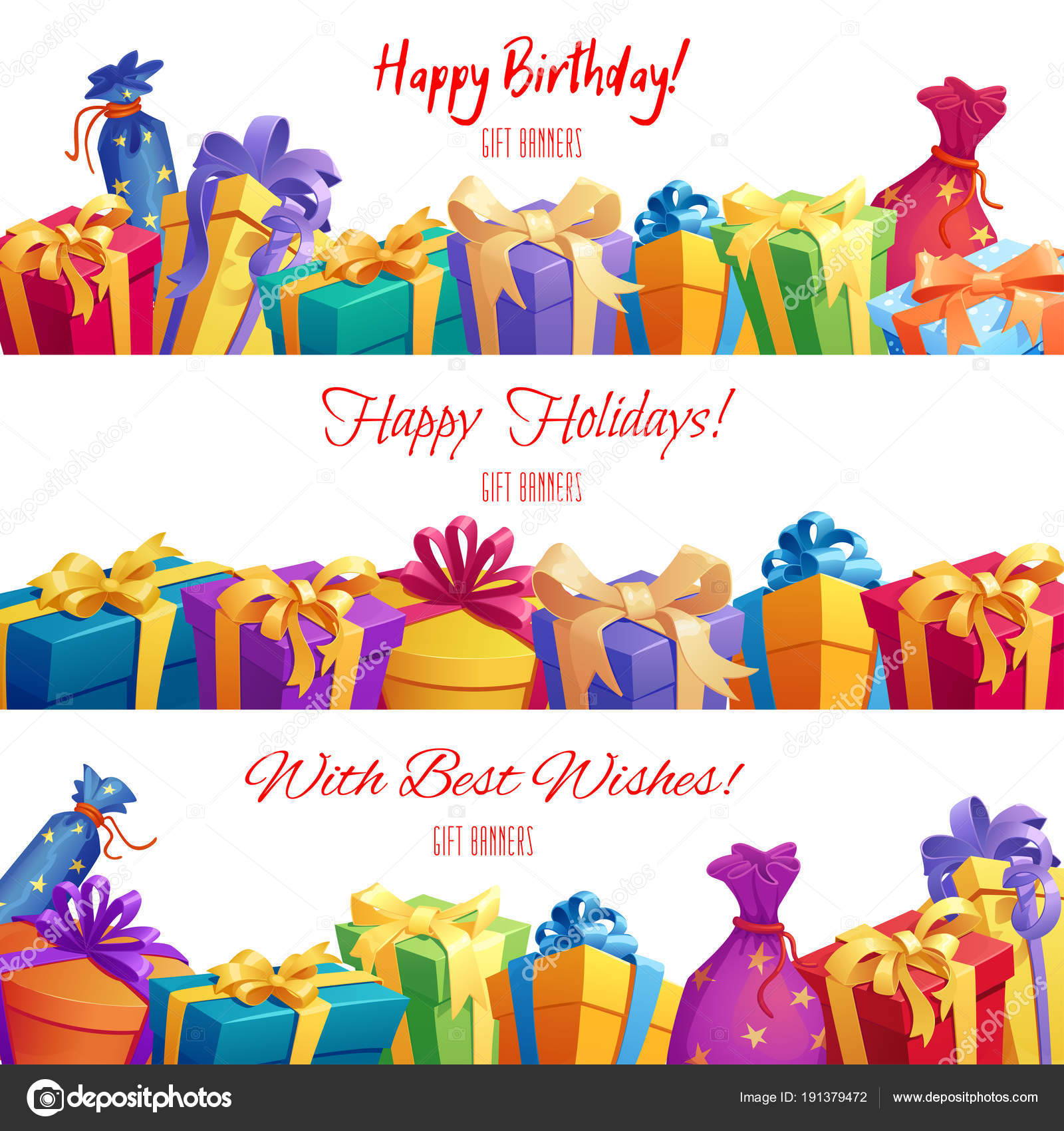 festive gift and present border with bright box pack and bag ribbon bow and star for birthday christmas and new year holiday celebration design vector