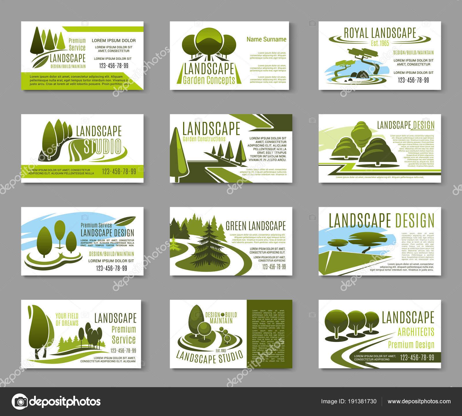 Plantilla de tarjeta de visita de estudio de diseño de paisaje ...