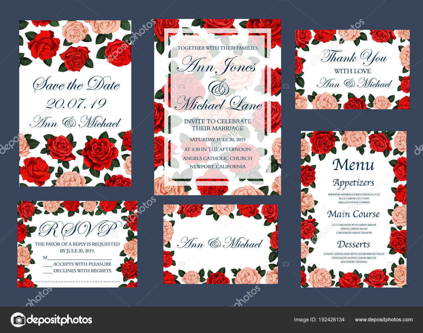 Save Date wedding vector cards and menu — Stock Vector © Seamartini ...