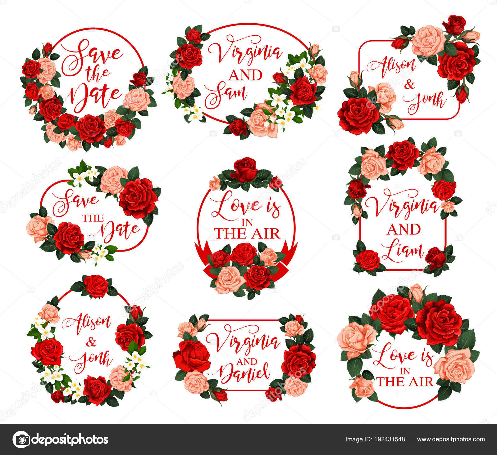 Save the Date vector flower for wedding invitation — Stock Vector ...