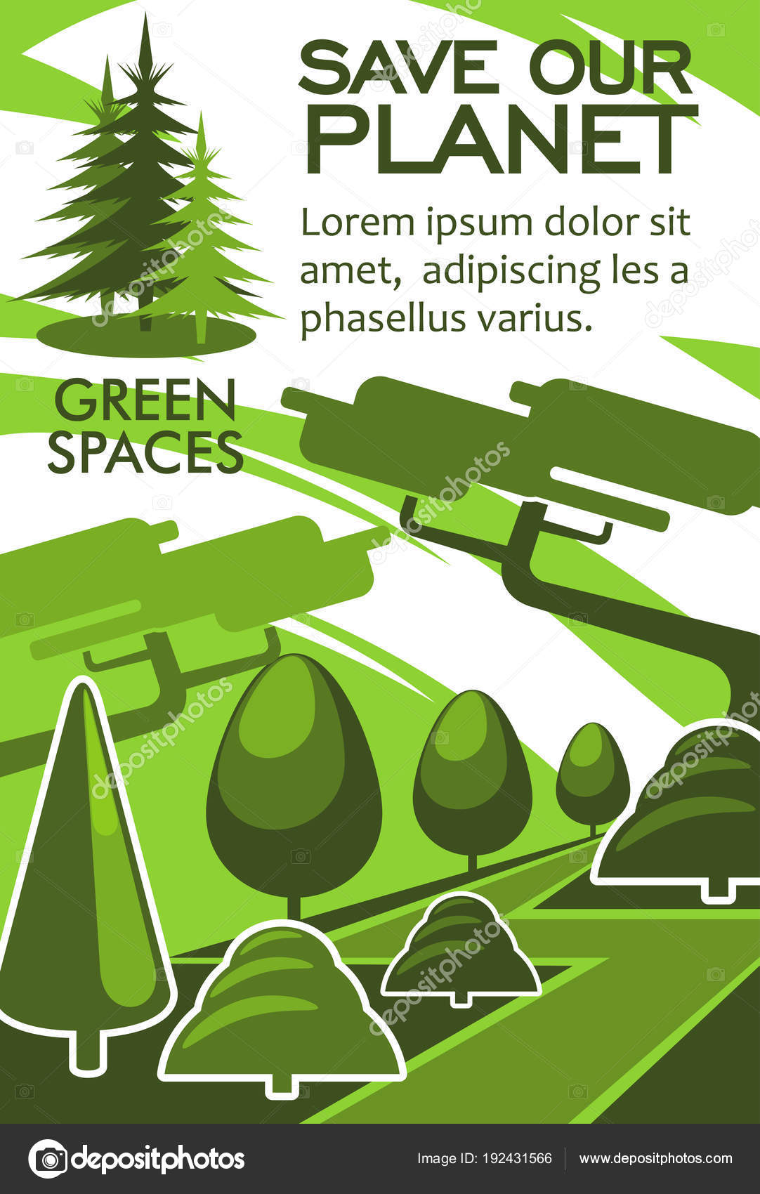 Green Tree And Plant Landscape Poster For Nature Conservation Recycle Renewable Energy Themes Design Vector By Seamartini