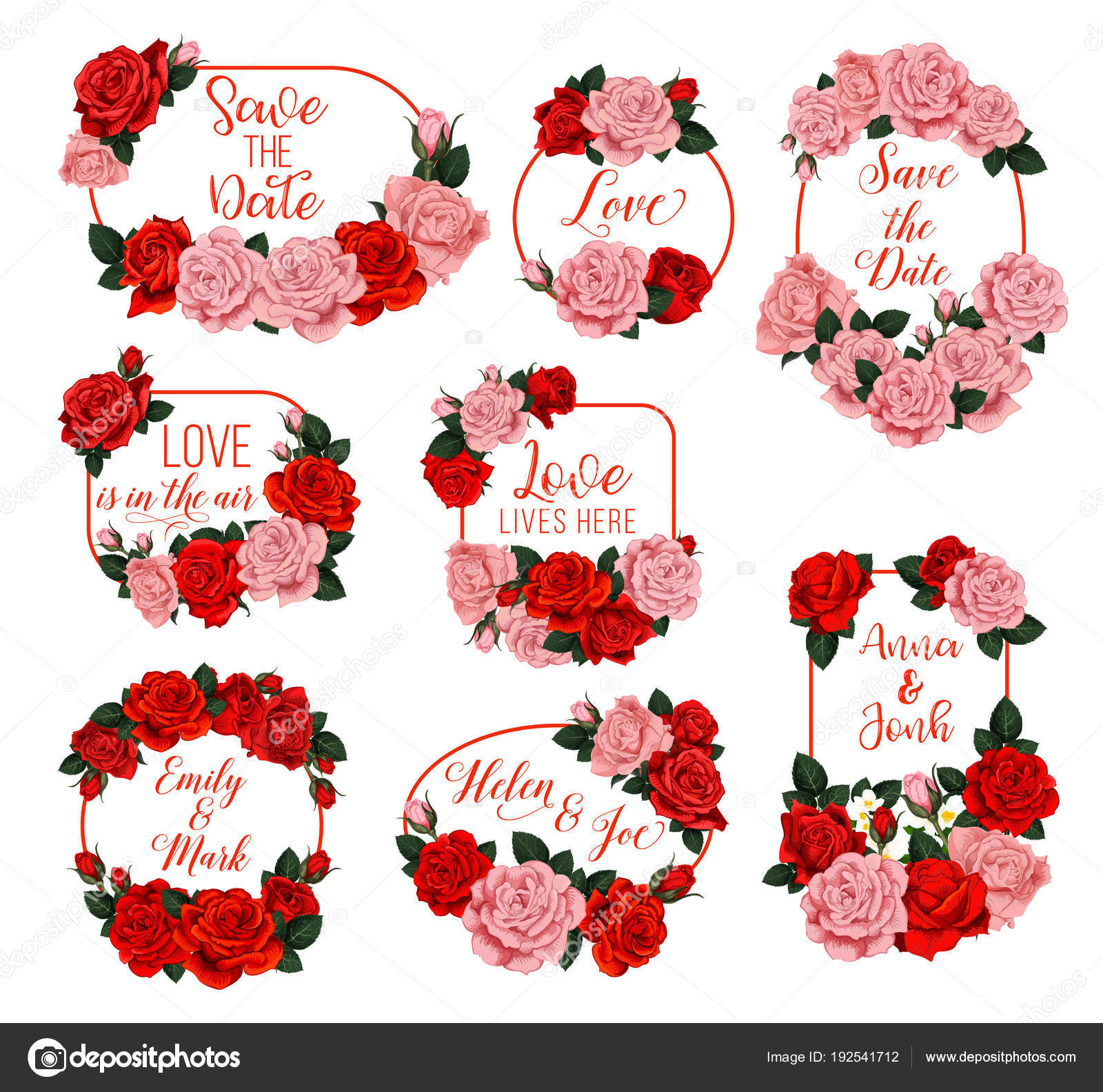 Springtime flowers vector frames for wedding — Stock Vector ...