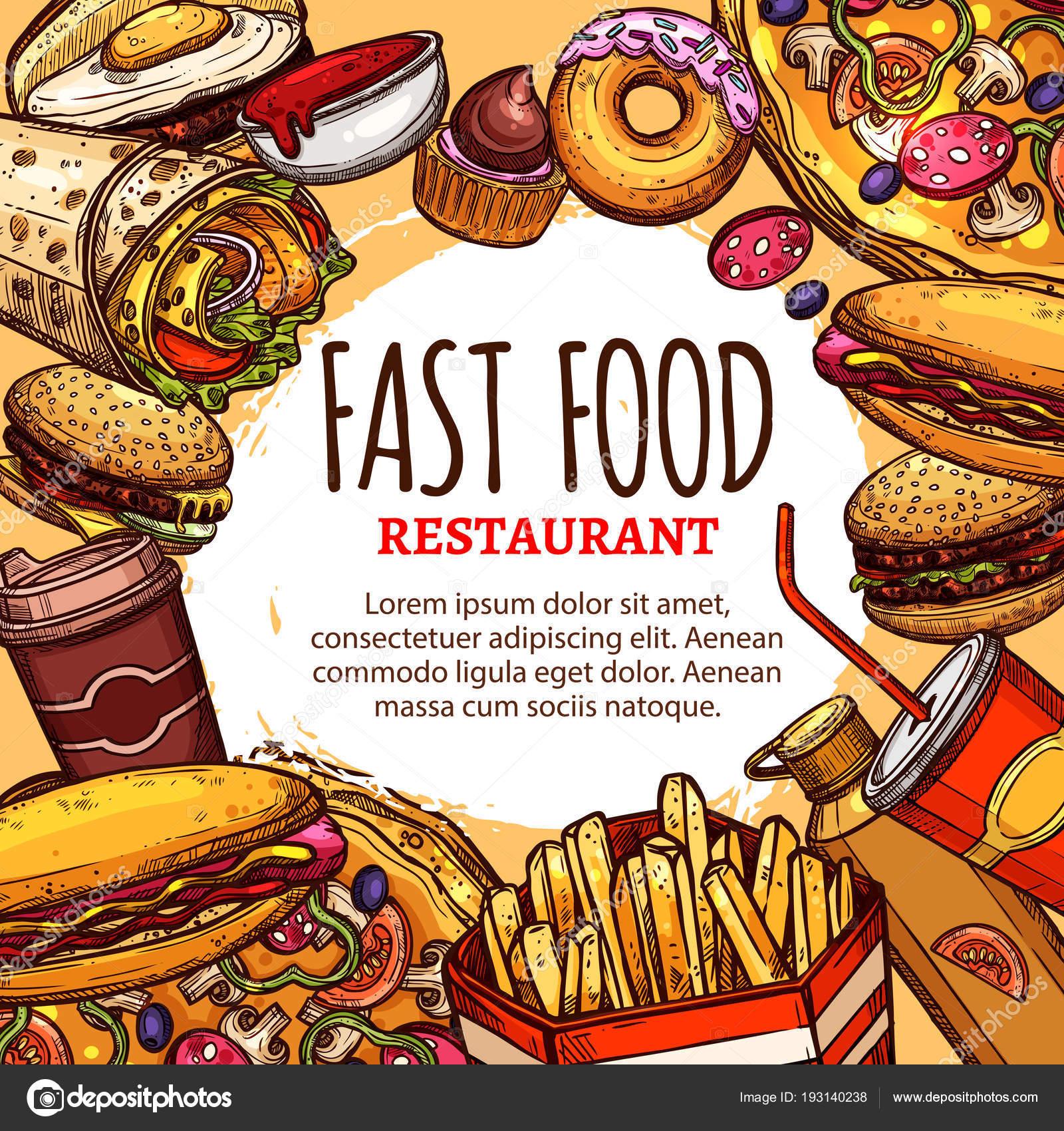 Cartel de menú de restaurante de comida rápida de vector — Archivo ...