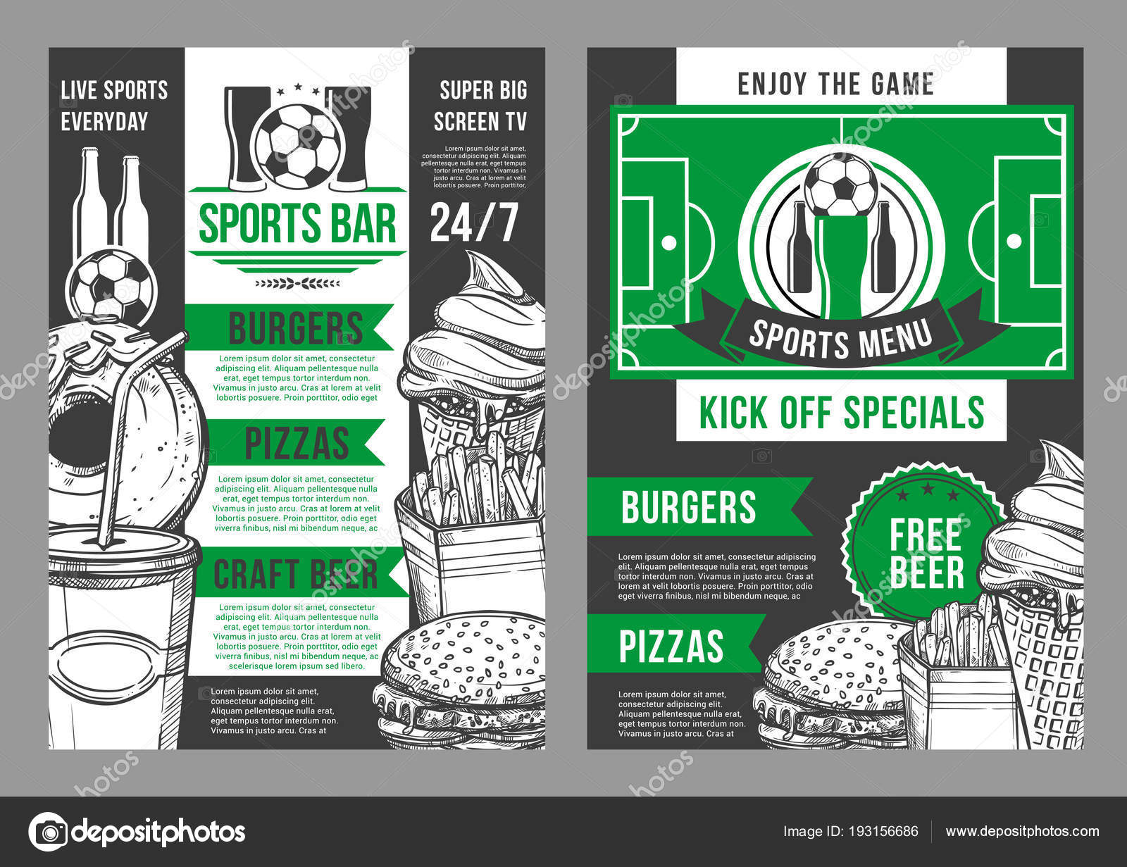 Vector soccer sports bar football pub menu design — Stock Vector ...
