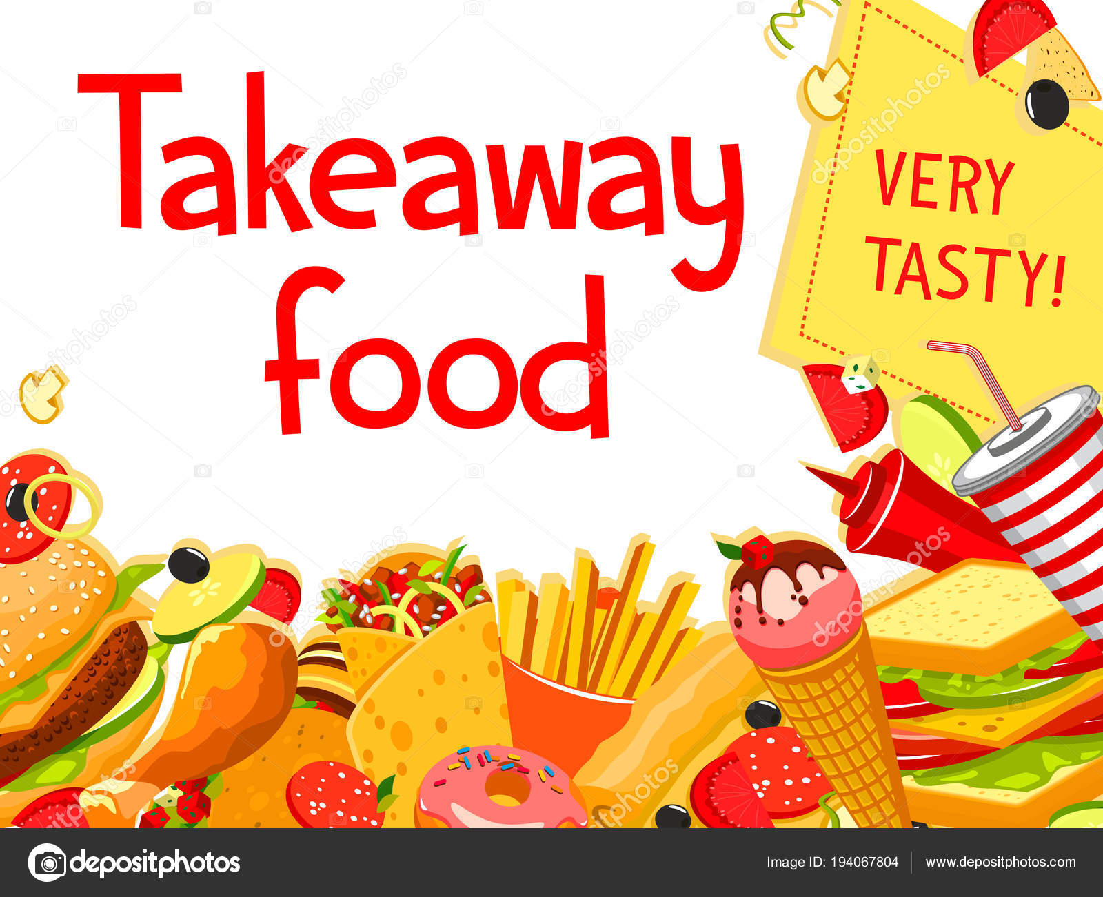 fast food restaurant menu cover with takeaway dish — stock vector