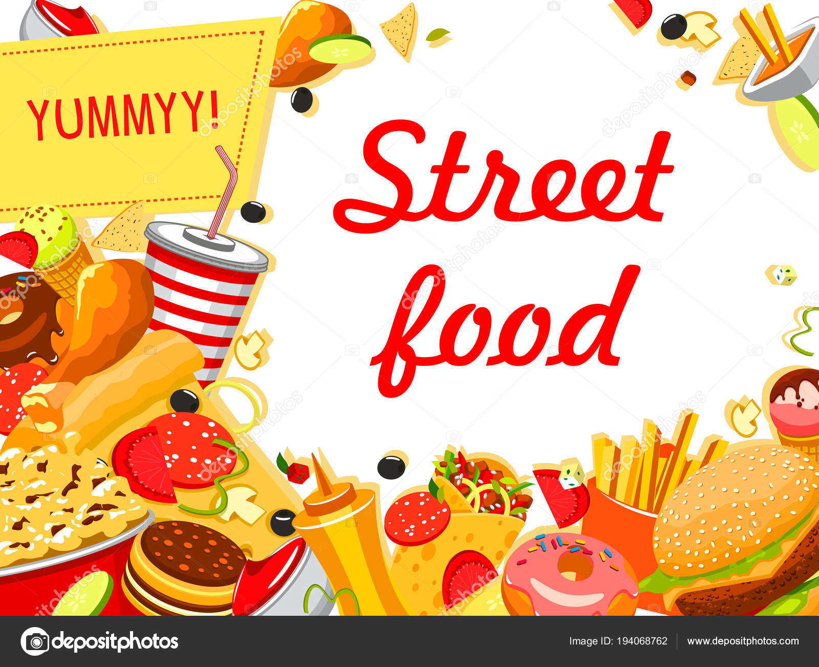 Fast Food Banner With Burger Drink And Dessert Stock Vector