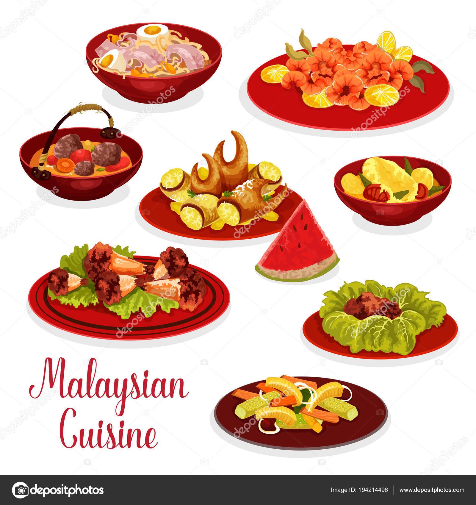 Malaysische Küche-Abendessen-Menü-Symbol mit asiatischen ...
