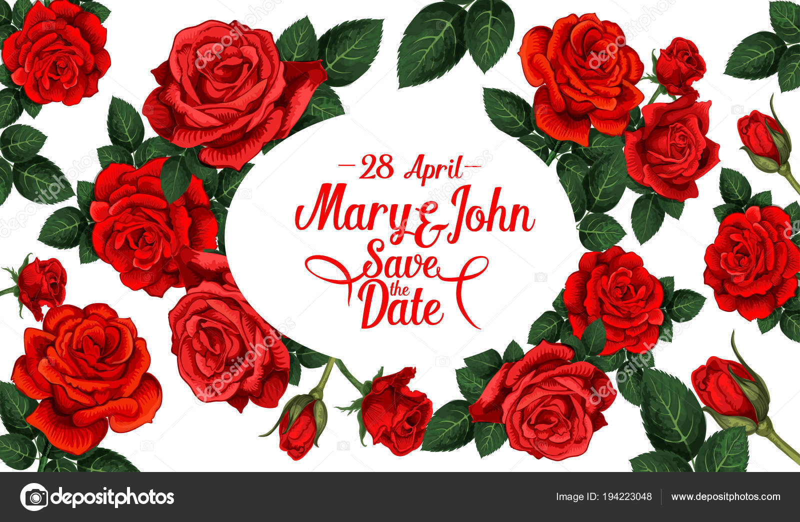 Save The Date Wedding Card With Red Rose Flower Stock Vector