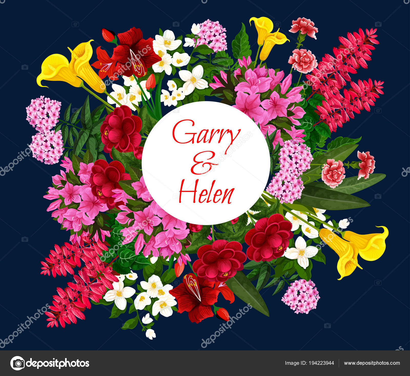 Wedding invitation card with spring flower wreath — Stock Vector ...