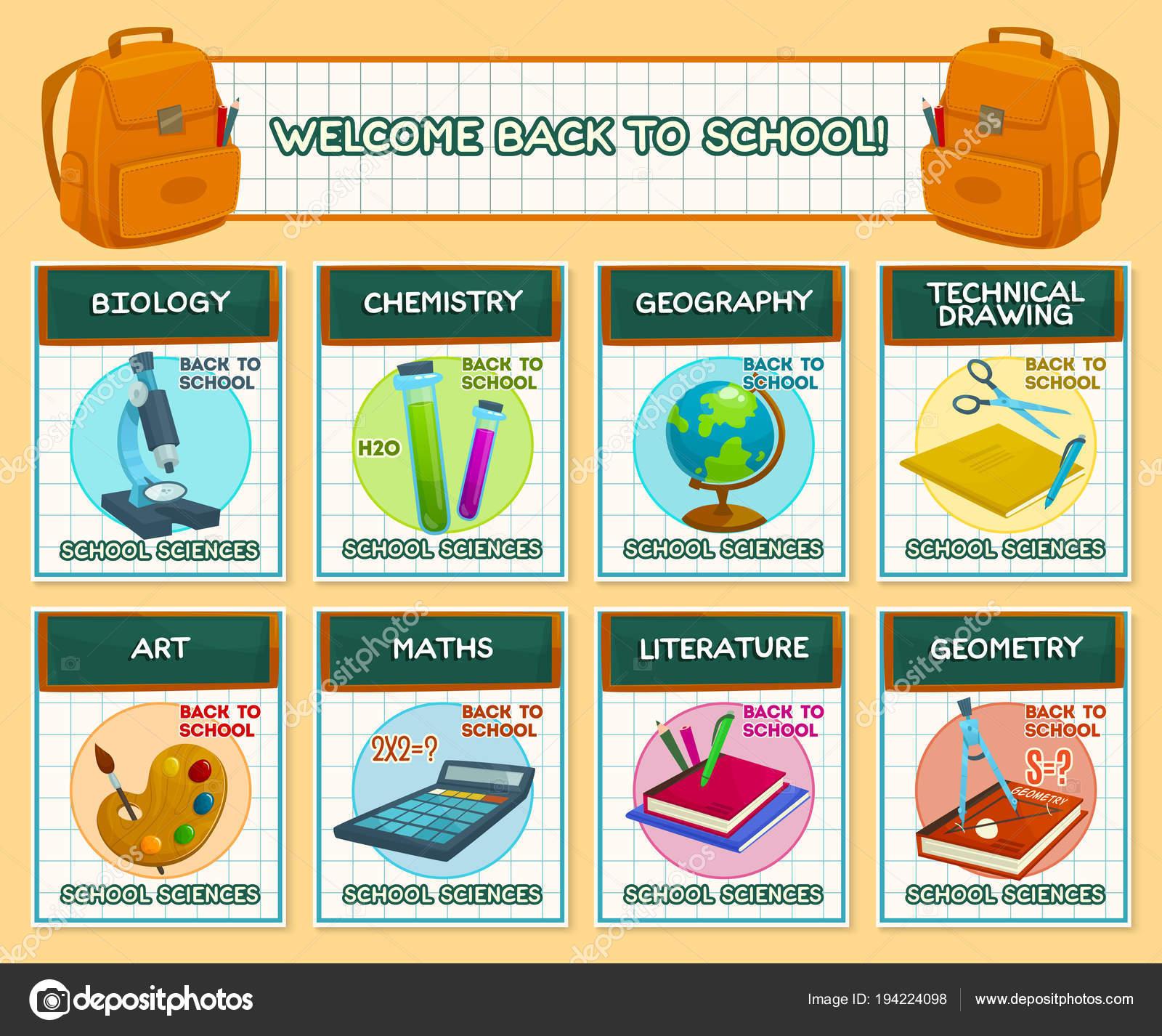 Zurück zu Schule Vektor Lektion Wissenschaft Poster — Stockvektor ...