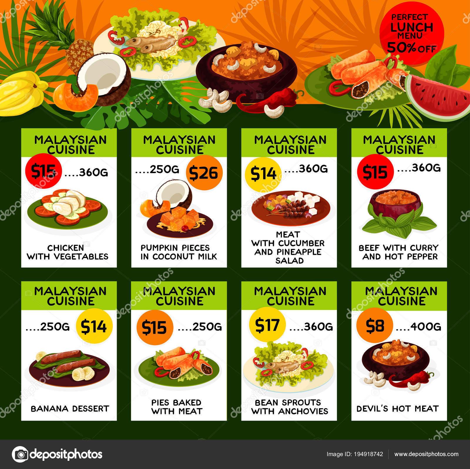 Vektor-Preis-Menü mittags malaysische Küche — Stockvektor ...