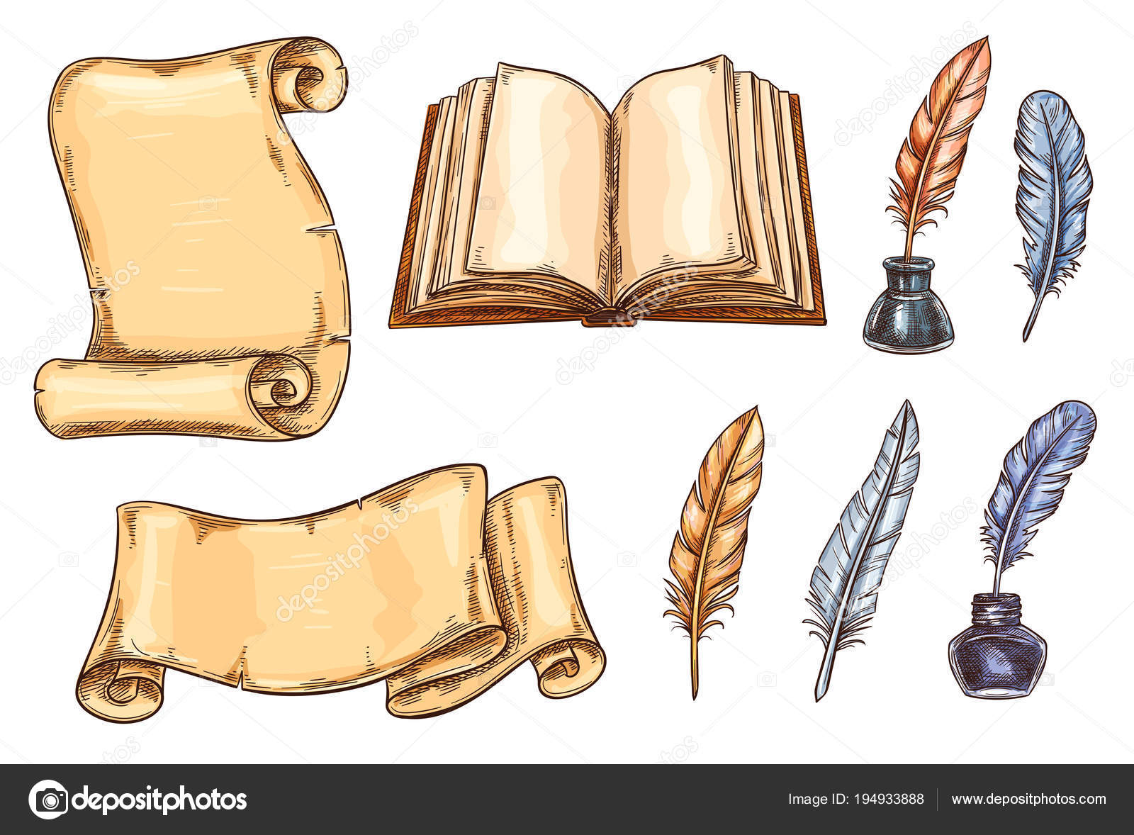Vector Sketch Icons Old Vintage Books Stationery Stock Vector