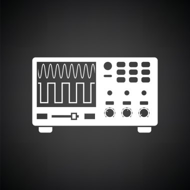 Oscilloscope icon. Black background with white. Vector illustration. stock vector