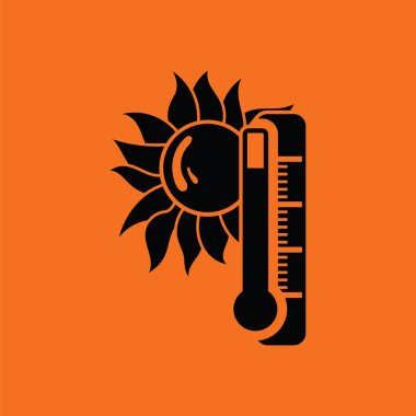 Summer heat icon. Orange background with black. Vector illustration. clip art vector