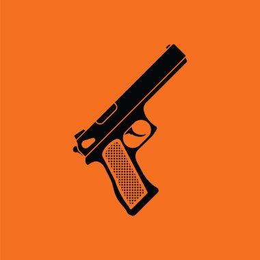 Gun icon. Orange background with black. Vector illustration. stock vector