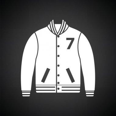 Baseball jacket icon. Black background with white. Vector illustration. stock vector