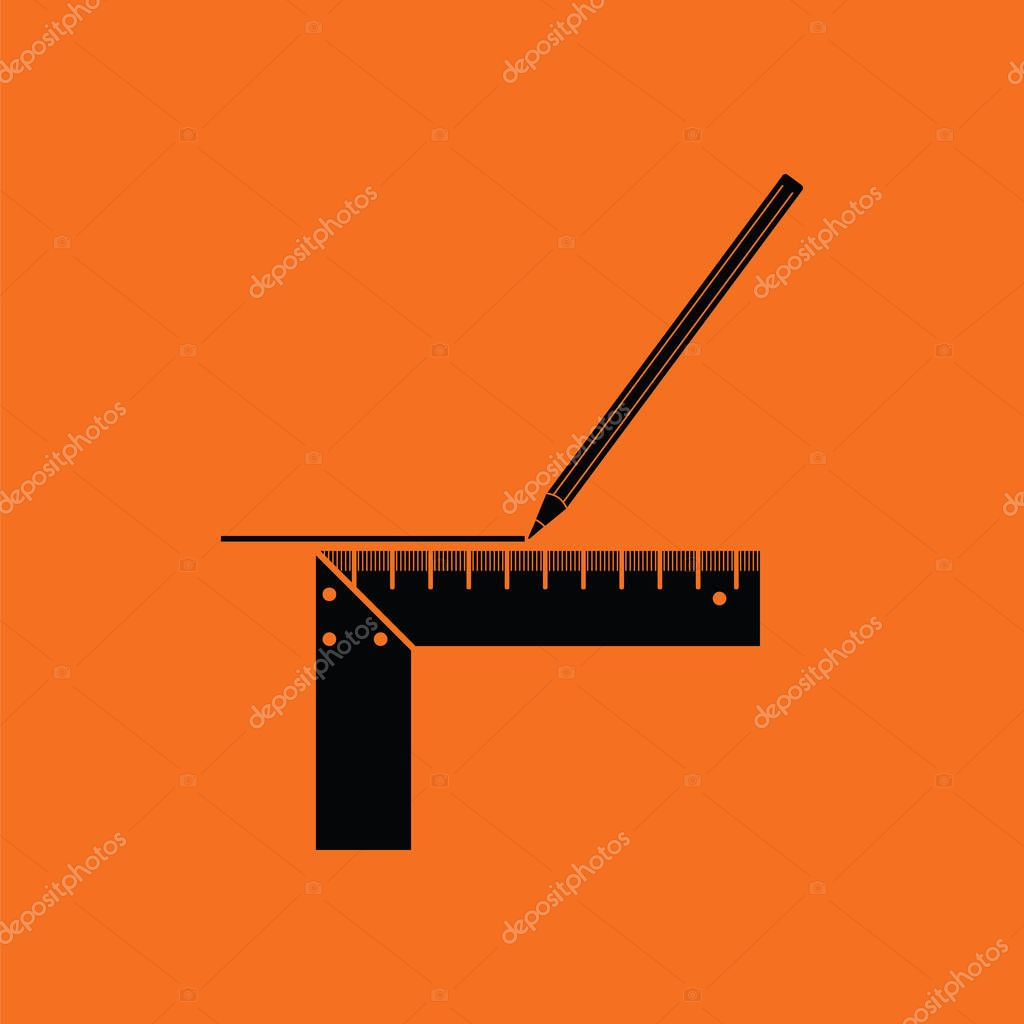 Pencil line with scale icon