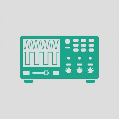 Oscilloscope icon. Gray background with green. Vector illustration. stock vector