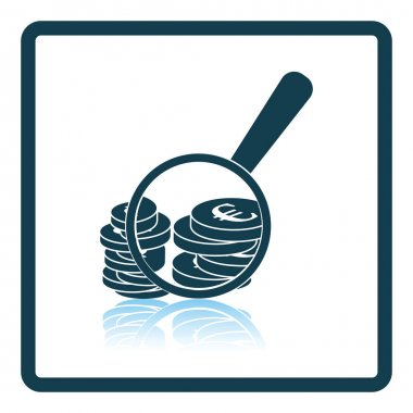 Magnifying over coins stack icon