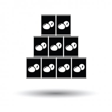Stack of olive cans icon