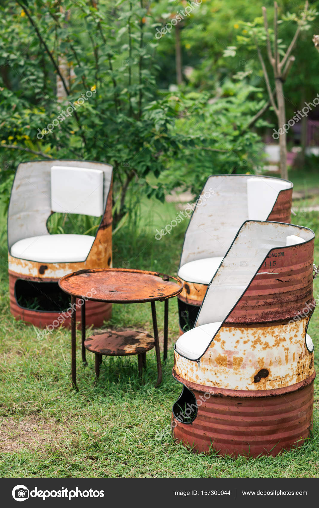 furniture made from barrels. Oil Drum Furniture. Hand Made Barrels Decorate For Chairs \u2014 Stock Photo Furniture From I