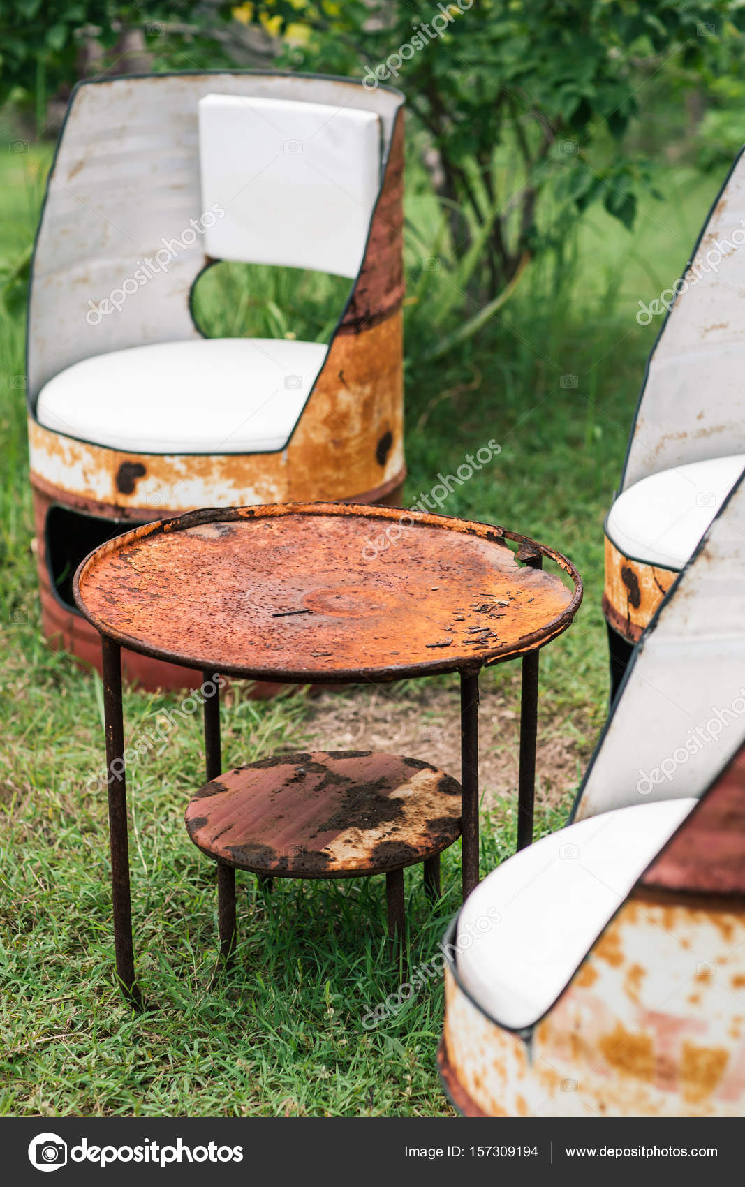 Oil Drum Furniture. Hand Made Barrels Decorate For Chairs U2014 Stock Photo