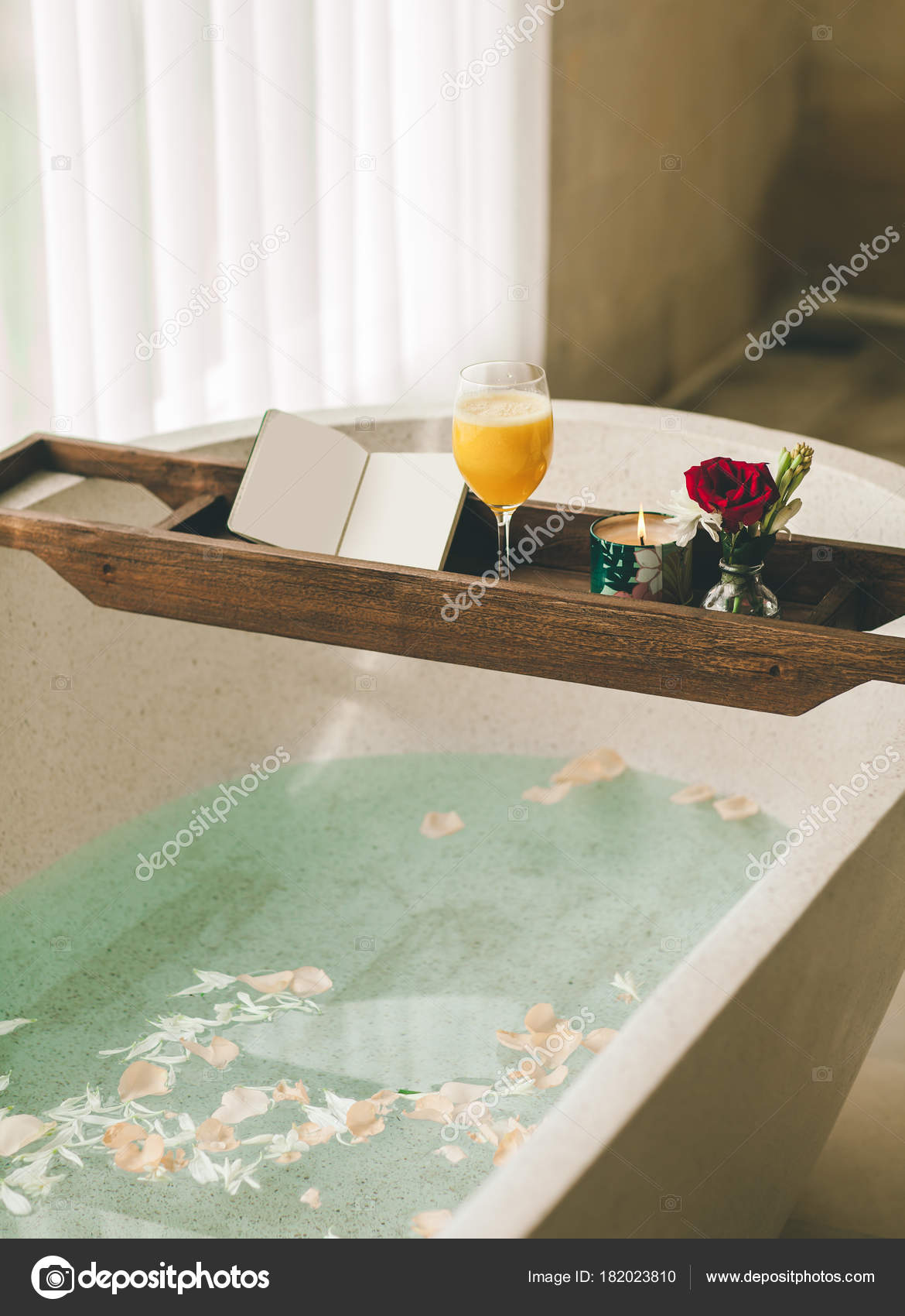 Bright Bathroom Home Bath Flower Petals Salt Tray Bath Orange ...